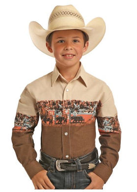 Boy's Panhandle Tan Bulldogger Long Sleeve Shirt