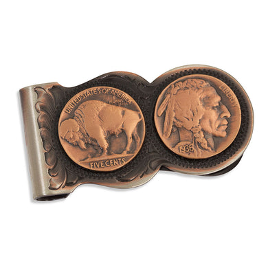 Montana Silversmiths Scalloped Vintage Bronze Buffalo Nickel Money Clip