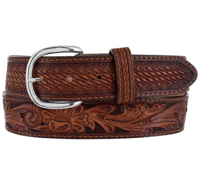 Men's Justin Pecos Brown Floral Tooled Belt