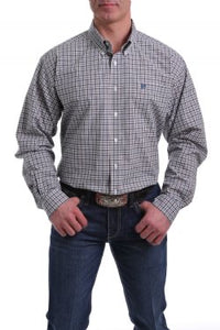 Men's Cinch Long Sleeve Peach/Navy/White Plaid Shirt