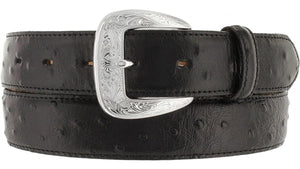 Men's Tony Lama Black Ostrich Dress Belt