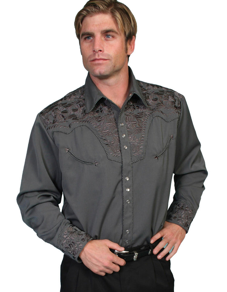 Men's Scully Long Sleeve Shirt P-634 Charcoal