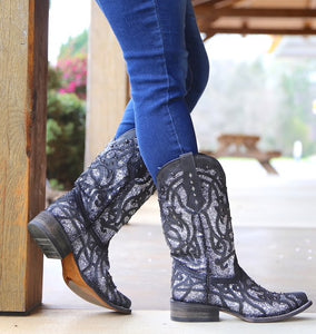 Women's Corral Black Glittered Inlay Boots
