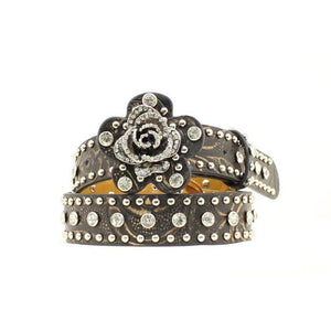 Kid's Nocona Black Studded Rose Belt