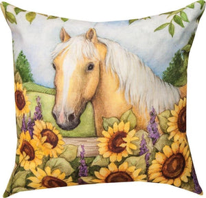 Horse in Florals Sunflowers Pillow