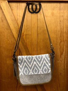 Myra Brown & Gray Canvas & Hide Purse