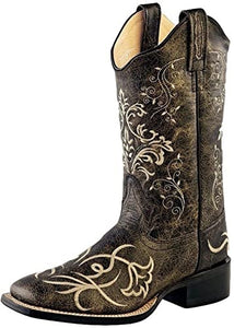 Women's Old West Distressed Black with Ivory Embroidery Boots