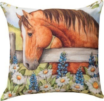 Horse In Florals Bluebonnets Pillow