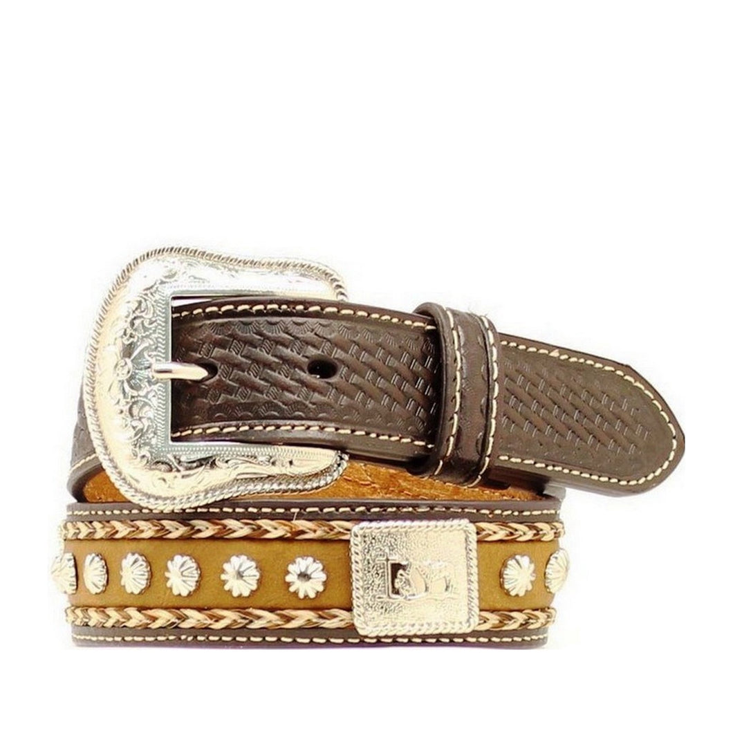 Kid's Nocona Cowboy Prayer Old Wood Tan Western Belt