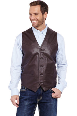 Men's Cripple Creak Chocolate Lamb Leather Vest