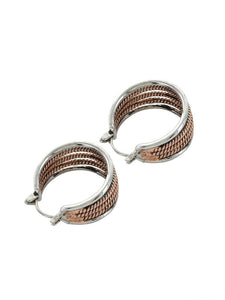 Montana Silversmiths Two Tone Rope Hoop Earrings
