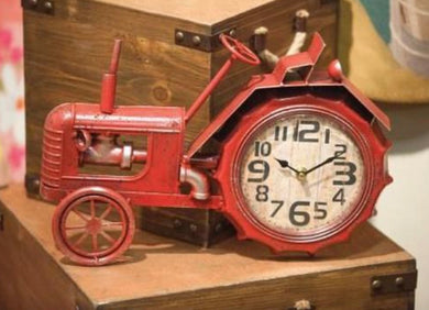 Red Tractor Table Clock
