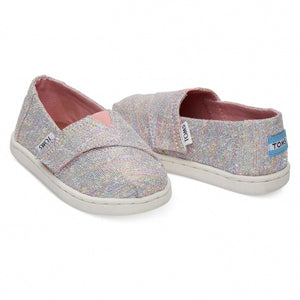 Tom's Tiny Classic Pink Multi Twill Glimmer Shoes
