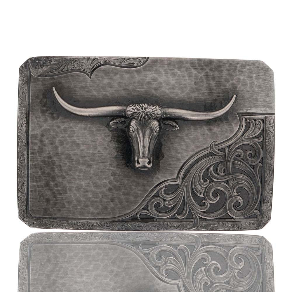 Montana Silversmiths Stormy Rough Out with Longhorn Buckle