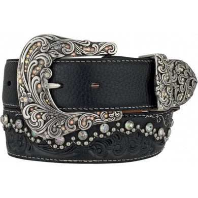 Women's Tony Lama Black Kaitlyn Crystal Belt