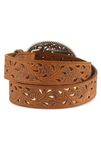 Women's Tony Lama Brown Pierced Filigree Belt