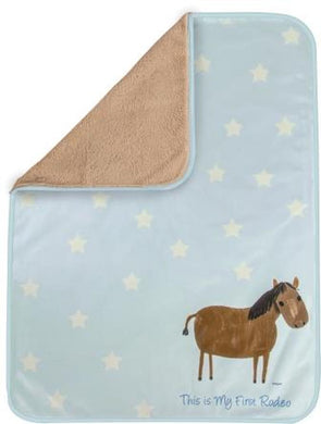 Baby's First Rodeo Blue Fleece Fur Blanket