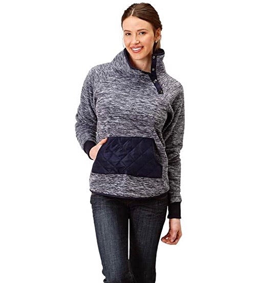 Women's Roper Navy Quilted Asymmetrical Jacket