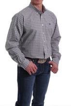 Load image into Gallery viewer, Men's Cinch Long Sleeve Peach/Navy/White Plaid Shirt