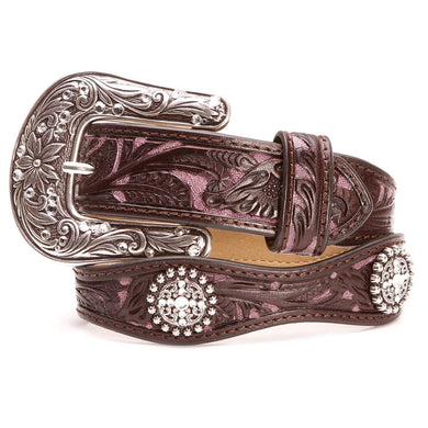 Kid's Ariat Floral Overlay Brown & Pink Leather Belt