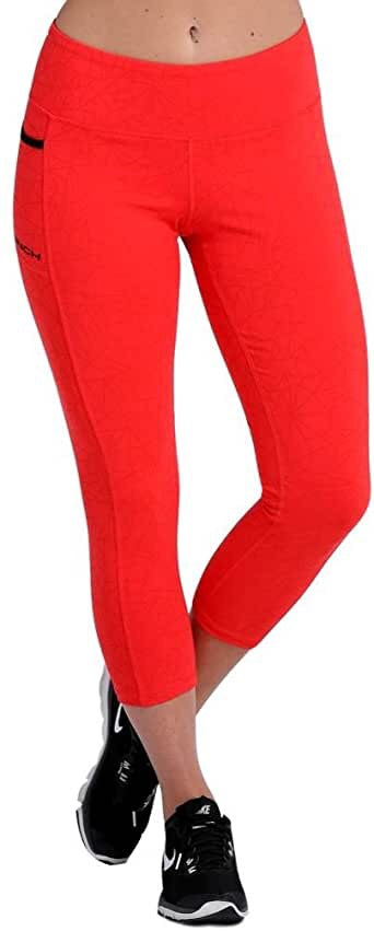 Women's Cinch Red Reflective Print Capri Leggings