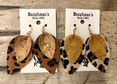 Women's Cheetah Cork & Leather Hide Earrings