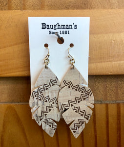 Women's Cream Tribal Feathered Cork Earrings
