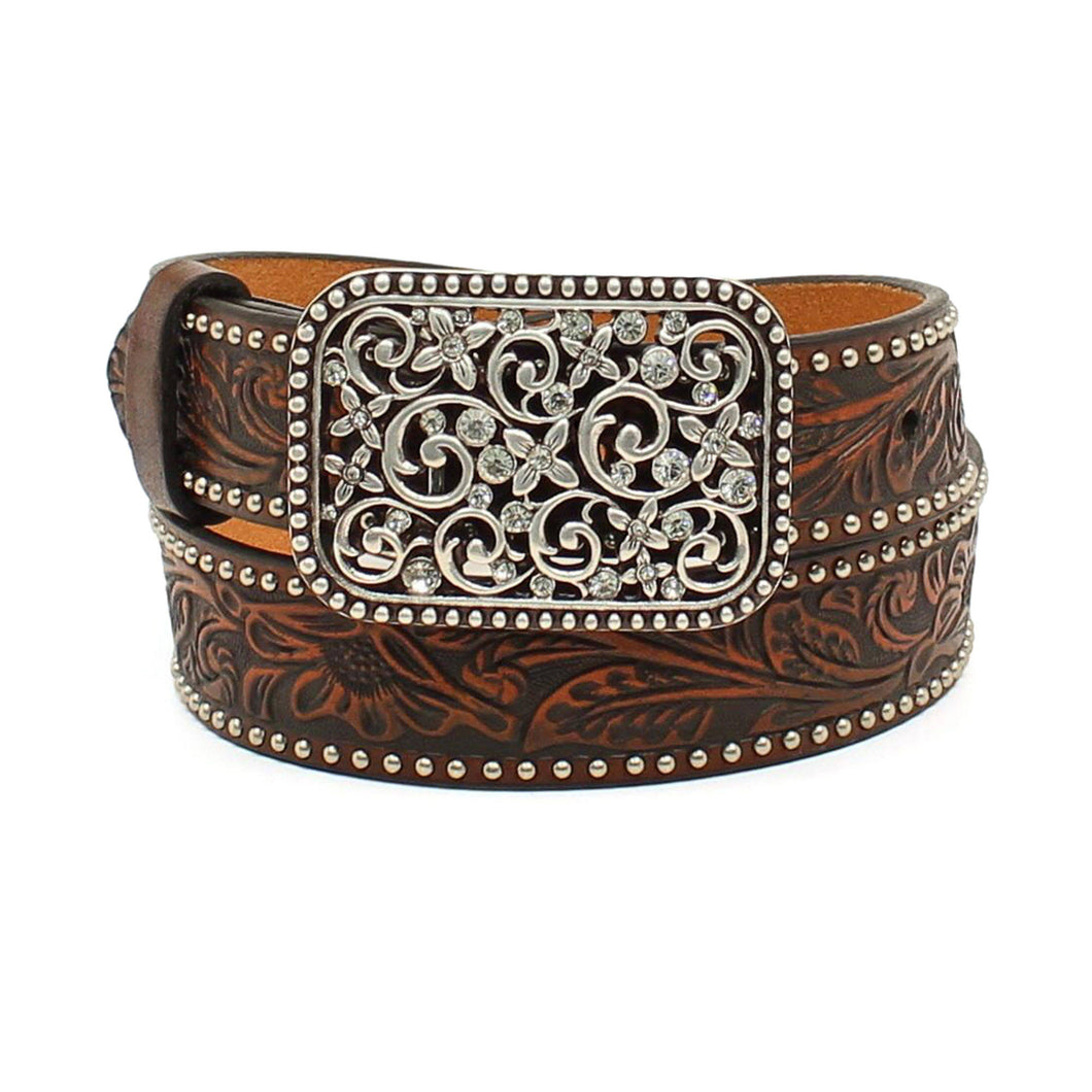 Kid's Ariat Floral Crystal Buckle Belt