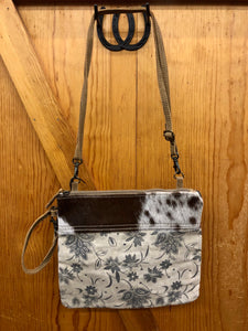 Myra Floral Canvas & Hide Purse