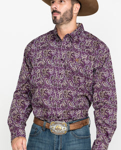 Men's Cinch Long Sleeve Shirt MTW1104991 Purple Paisley