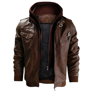 Hooded Leather Rider Jacket