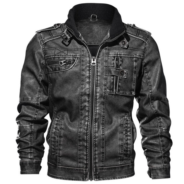 OUTWEAR CROW LEATHER BIKER JACKET