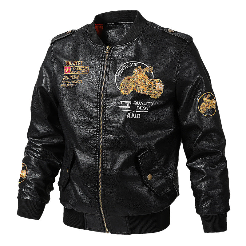 Mens Bomber PU Leather Jacket