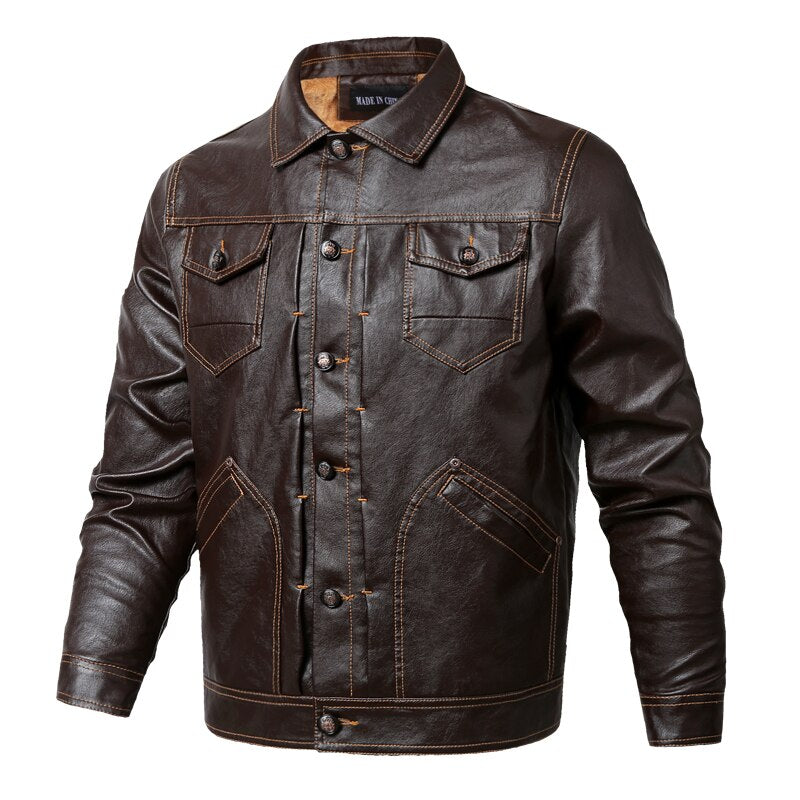 Thick Warm Fleece Leather Jacket