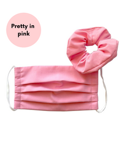 Favie Curvy Fashion Maske mit Scrunchie Pink  Plus Size