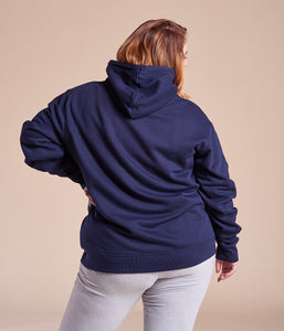 Favie Curvy Fashion nachhaltiger Hoodie Statement Girls Bite Back blau Plus Size Rückansicht