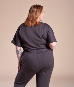 Favie Curvy Fashion Jumpsuite Wickel-Optik schwarz Plus Size Rückansicht
