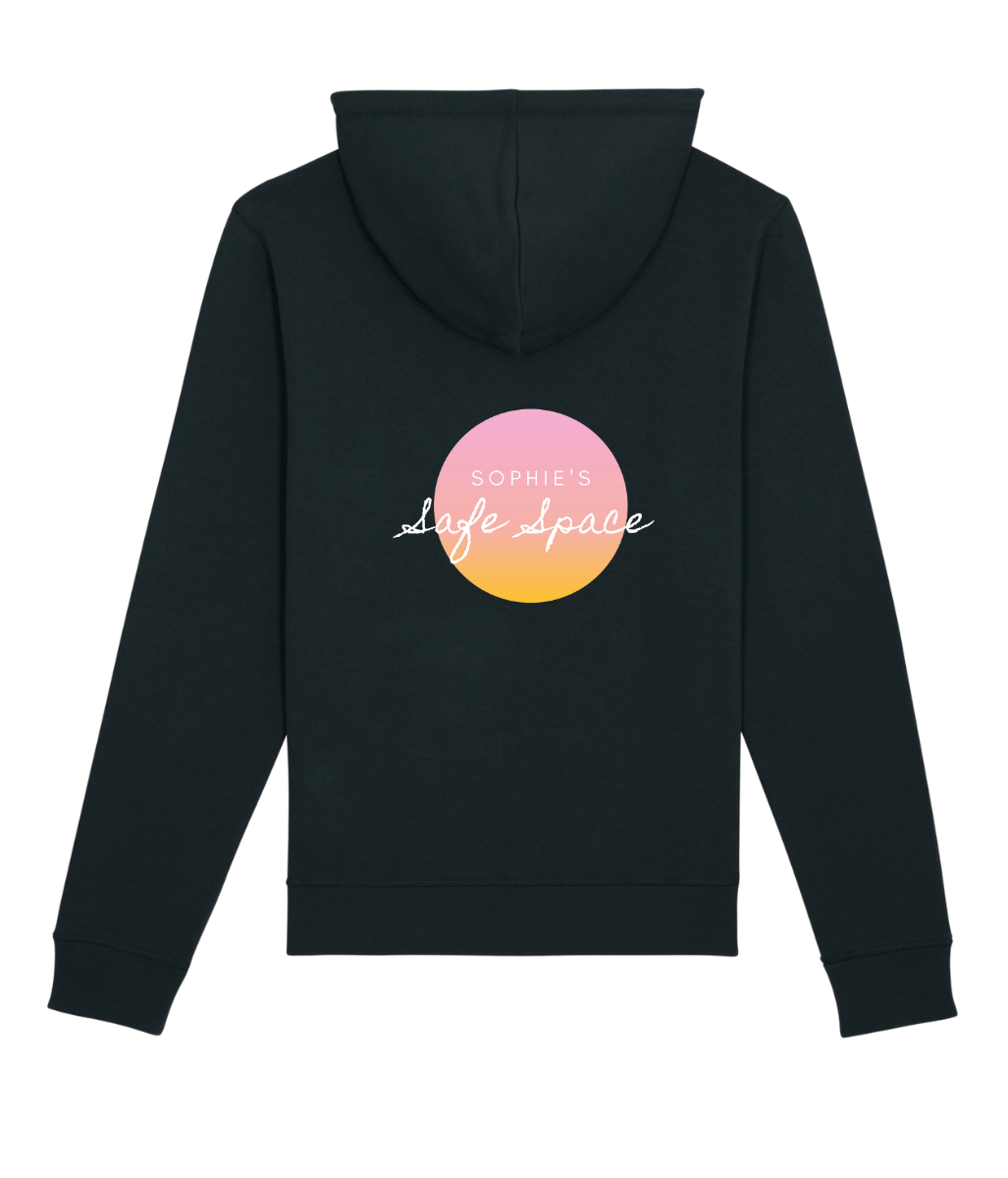 Laden Sie das Bild in den Galerie-Viewer, Favie Curvy Fashion Sophie's Safe Space Yoga Kollektion fat friendly Yoga fat bodies do yoga too Hoodie schwarz Statement Print Leger Ansicht hinten