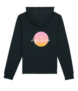 Favie Curvy Fashion Sophie's Safe Space Yoga Kollektion fat friendly Yoga fat bodies do yoga too Hoodie schwarz Statement Print Leger Ansicht hinten