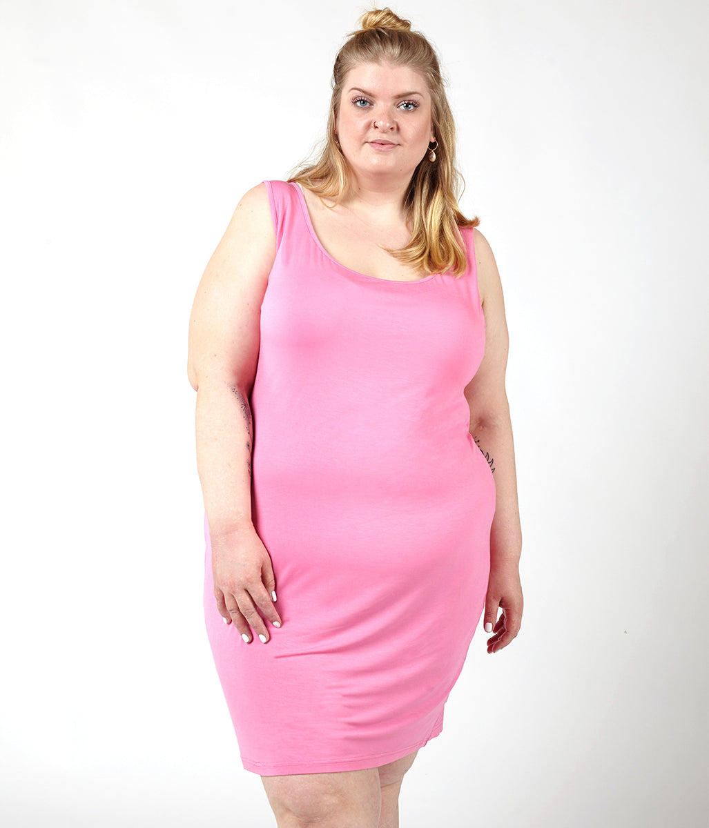 Laden Sie das Bild in den Galerie-Viewer, Favie Curvy Fashion Astra Signature Tanktop-Kleid rose Close Plus Size