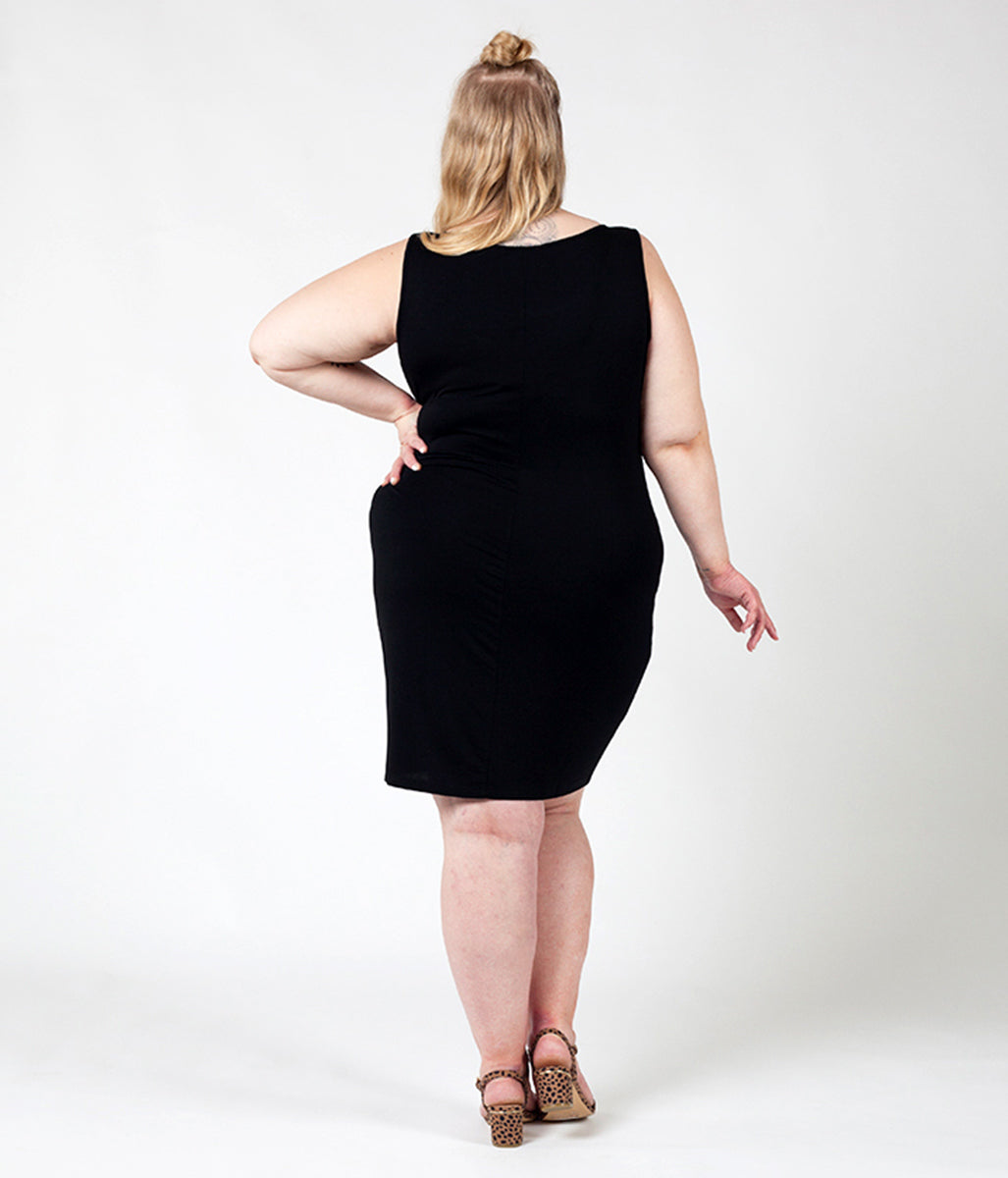 Laden Sie das Bild in den Galerie-Viewer, Favie Curvy Fashion Astra Signature Tanktop-Kleid schwarz Rückansicht Plus Size