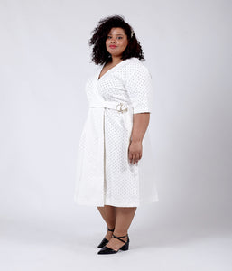 Favie Curvy Fashion Elvi Denim Kleid Vorderansicht Plus Size