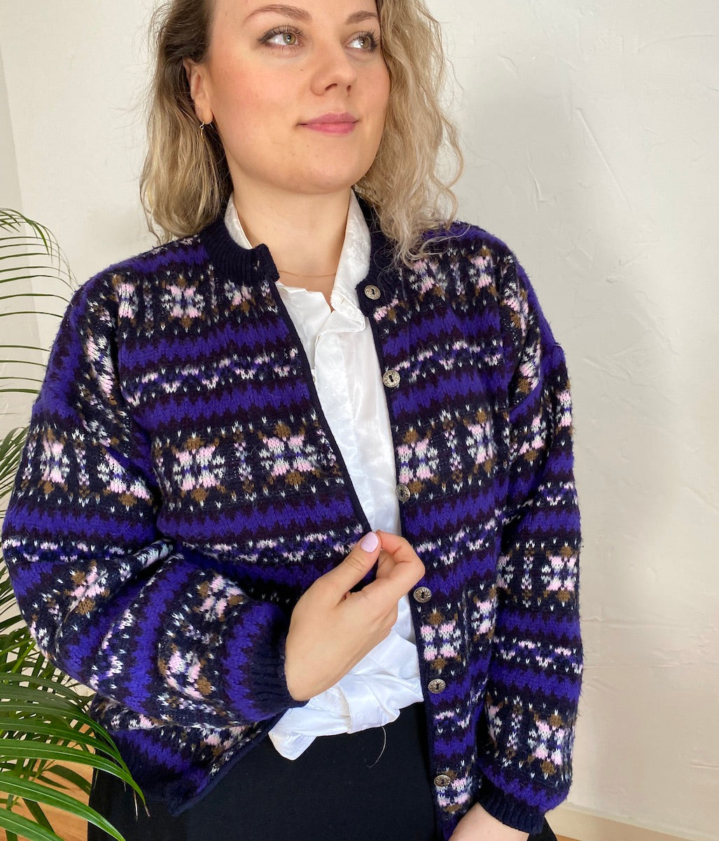Laden Sie das Bild in den Galerie-Viewer, EU 42/44 Norweger Strickjacke