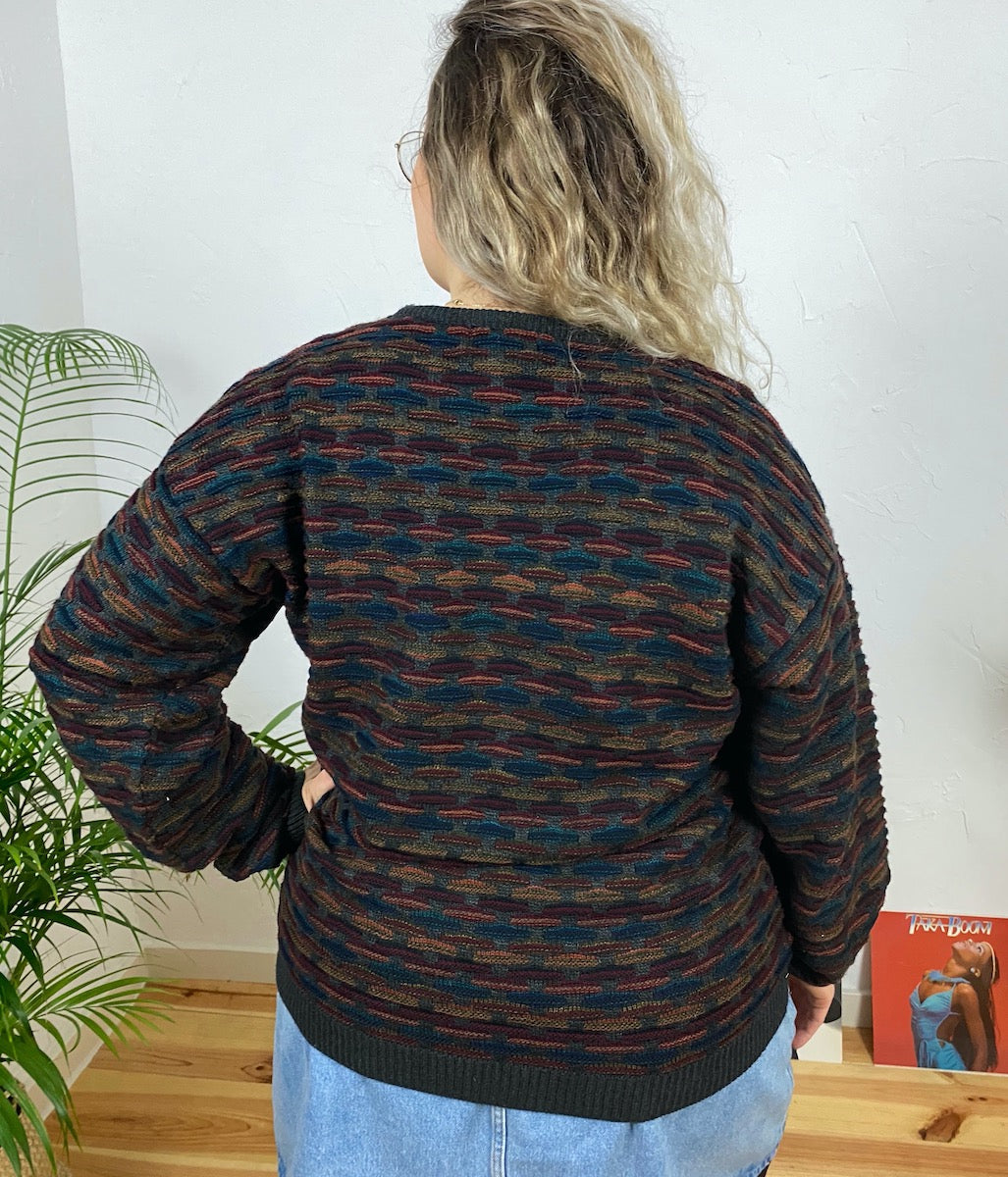 "Laden Sie das Bild in den Galerie-Viewer, EU 44 Bunter Pullover ""Night Owl"""