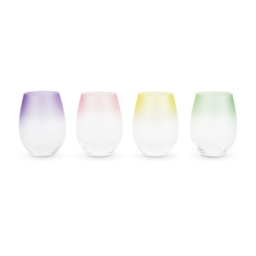 Color Gradient Stemless Wine Glasses