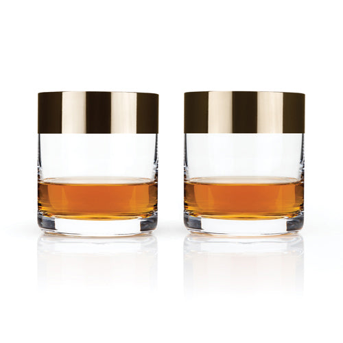 Bronze Rimmed Whiskey Glasses (set of 2)