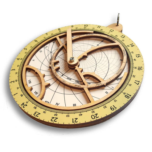 Wooden Astrolabe, mapospheres, Front side