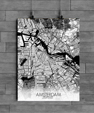 Mapospheres Amsterdam Black and White full page design poster city map