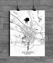 Load image into Gallery viewer, Mapospheres Ashgabat Black and White full page design poster city map