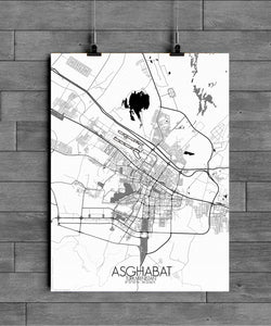 Mapospheres Ashgabat Black and White full page design poster city map